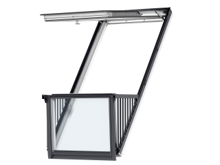 VELUX - GDL PK19 SD0L001 - Single white-painted CABRIO balcony, triple glazing, slate, 94x252
